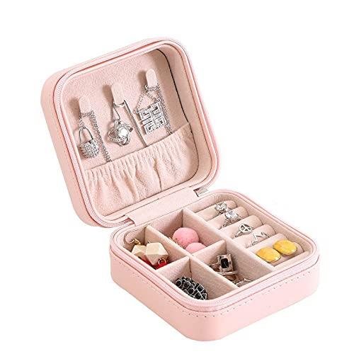 FACHA Caja de almacenamiento de cuero unisex para mujer, caja de almacenamiento portátil para joyas (color rosa, tamaño: 10 x 10 x 5 cm)