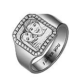 KkllaaWW Personalisierter Ring Fotoring 925 Sterling Silber Damenring Gravierter Bild- Und Textring(Silber 48 (15.3))