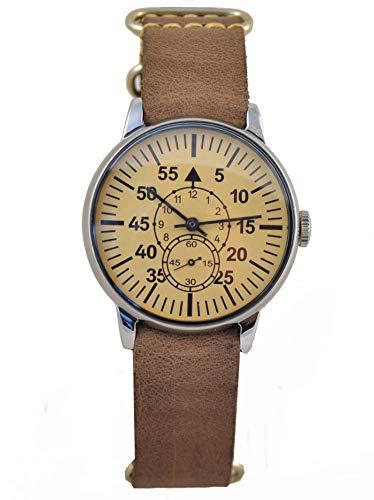 Military Pobeda Mens Wrist Watch Aviator Vintage USSR Rare Soviet Watch (Dark Chocolate NATO)