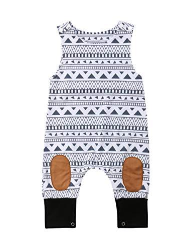Newborn Kid Baby Boy Girls Print Sleeveless Romper Jumpsuit Outfits Summer Clothes (18-24 Months, A-White)