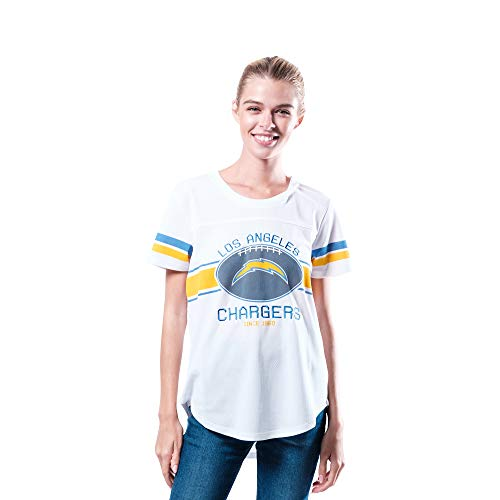 Ultra Game NFL Los Angeles Chargers Womenss Soft Mesh Jersey Varsity Tee Shirt, White, Large
