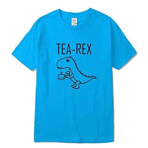 Camiseta de Manga Corta Camisa 3D Camiseta para Hombre 100% Algodón Diseño De Dinosaurio Divertido Divertido Estampado En El Cuello Hombres Cool Male XL Linghtb