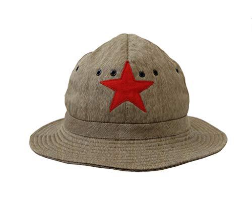 JXS WW2 SOVIÉT Soviet Rojo EJÉRCITO DE Combate DE Combate Replica, Sombrero DE Pescador VENDIMIENTO con FUDARIO DE Cuero DE CIENTO DE CINEZ Punto Rojo, Soporte DE Sol al Aire Libre