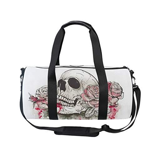 MNSRUU Große Reisetasche mit Totenkopf- und Blumenmotiv, unisex, hohe Kapazität, großes Gepäck, Sporttasche