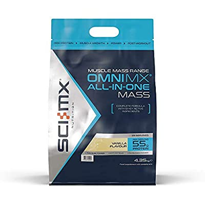 SCI-MX Nutrition OMNI MX ALL-IN-ONE MASS, Protein Powder All-in-One Mass Shake, 4.35 kg, Vanilla, 29 Servings by SCI-MX Nutrition