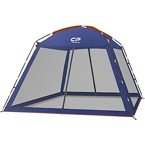 CAMPROS Screen House 10 x 10 Ft Screened Mesh Net Wall Canopy Tent Screen Shelter Gazebos for Patios Outdoor Camping Activities - Blue