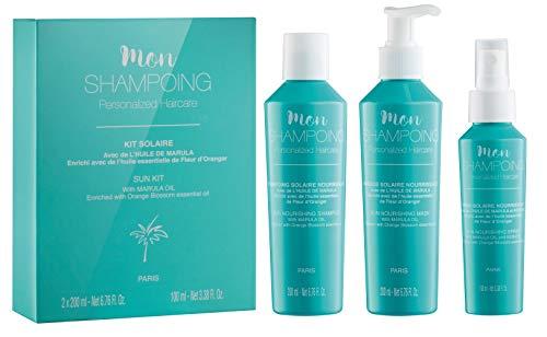 Mon Shampoing - Kit Solaire Naturel : Shampoing + Masque + Spray Nourissant - Sans SLS/Sans Paraben/Sans Silicone - Huile de Marula - Huile essentielle de Fleur d'Oranger - 200 ml + 200 ml + 100 ml