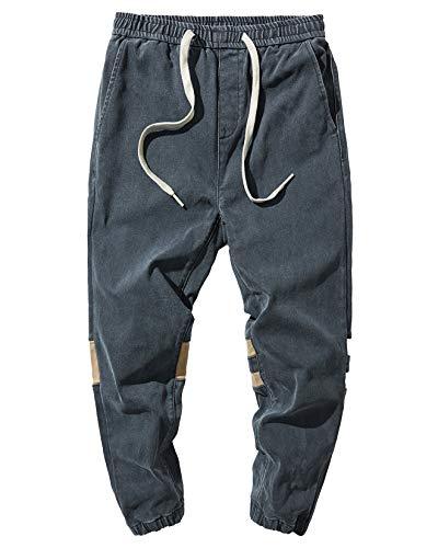PRIJOUHE Men's Fashion Jogger Jeans Casual Stretch Straight Fit Elastic Waist Drawstring Hip Hop Harem Denim Pants