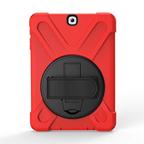 BlinkCat iPad Custodia per Samsung Galaxy Tab S2 8, Antiurto Robusto Resistente, Cover Protettiva con Cinturino a Mano+Tracolla / Cavalletto Rotante - Rosso
