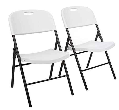 Amazon Basics - Silla de plástico plegable, capacidad de 157,5kg, blanco, set de 2