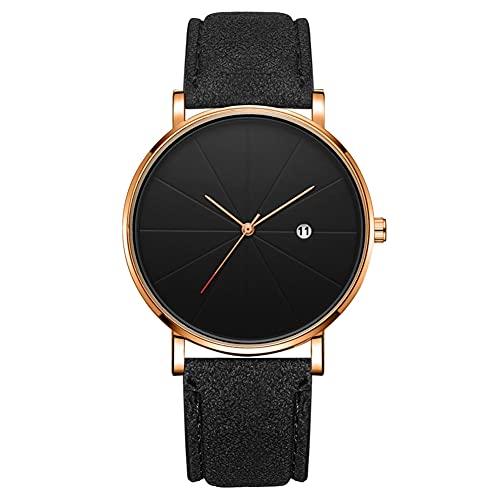 Reloj de moda simple Dial redondo Pantalla analógica Reloj de pulsera de cuarzo Accesorio de joyería Reloj de pulsera para hombres (# 6)