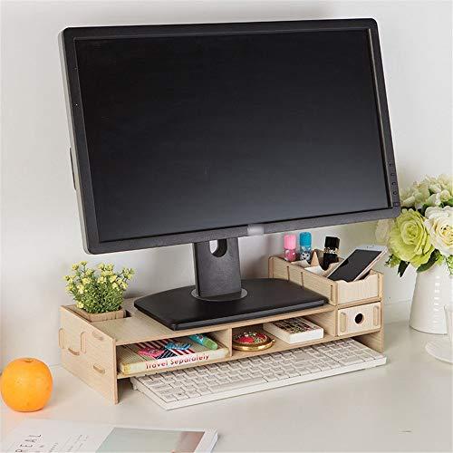 Cxraiy-HO skrivbordsförvaring låda skrivbord förvaring ställ dator upphöjd trä tangentbord ställ för skrivbord hem skola 49X20X13.5cm BEIgE