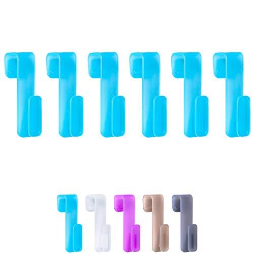 WELLGRO 6X Rundheizkörperhaken - Top Qualität Made IN Germany - Haken für Handtuch - Heizkörperhaken - Handtuchhaken - Farbe wählbar, Farbe:Türkis