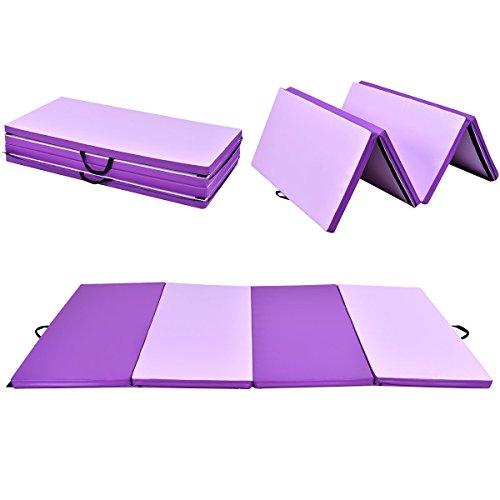 COSTWAY Weichbodenmatte 300 x 120 x 5 cm | Gymnastikmatte klappbar | Yogamatte verbindbar | Turnmatte groß | Klappmatte | Fitnessmatte Farbwahl (Lila)