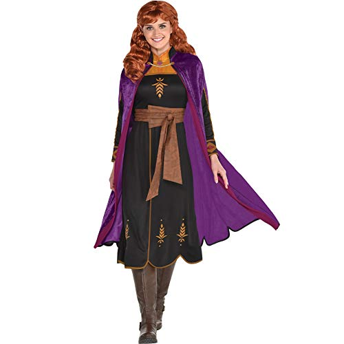 Party City Frozen 2 Anna Travel Halloween Costume for Women, Disney, Medium (6-8), Includes Dress and Cape