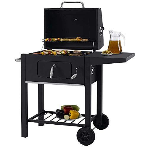 Bakaji Garden Barbecue a Carbone da Giardino BBQ Griglia Grill con Doppia Griglia Ripiano Laterale Coperchio Regolazione Temperatura e Ruote Dimensione 95 x 60 x 96 cm