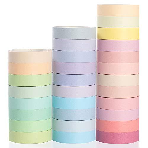 Yubbaex Washi Tape Set cinta adhesiva decorativa Washi Glitter Adhesivo de Cinta Decorativa para DIY Crafts Scrapbooking (Natural Color 30 Rollos)
