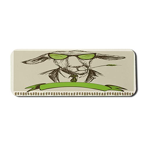 Modernes Computer-Mauspad, Hipster-Esel mit Gras auf Mund und Brille Skizze Illustration, Rechteck rutschfestes Gummi-Mauspad Großer blasser Farn Grün Braun