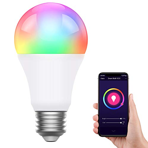 AUSPICE Smart Light Bulb, RGB Color Changing WiFi Smart Bulb Work with Alexa, Echo, Google Home, 8W No Hub Required Voice Control Smart Bulb with Timing, Memory Function for Home, Party Decoration