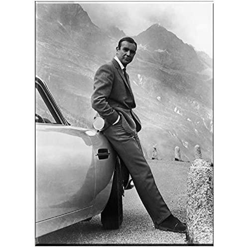 YGWDLON Sean Connery.聽007, James Bond Goldfinger 1964, Goldfinger Directed Movie Stampa Artistica Poster su Tela per Decorazione murale-60x80cm Senza Cornice