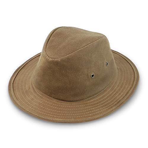 fiebig Sombrero Milton Traveller de algodón encerado | sombrero de exterior Crushable con ojales de metal agujeros de aire | sombrero de lluvia con forro fabricado en la UE marrón claro 55