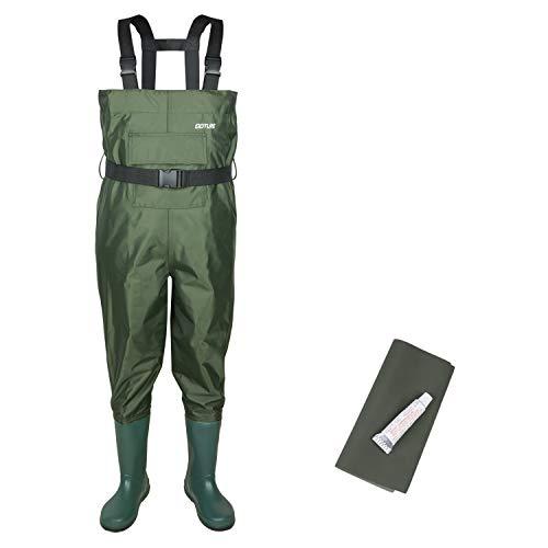 Goture Aktualisierung Anglerhose Wathose mit Gummi Stiefeln Wasserdicht Teichhose Dauerhaft PVC Nylon-Passend für Angeln & Wandern-Junge&Mädchen
