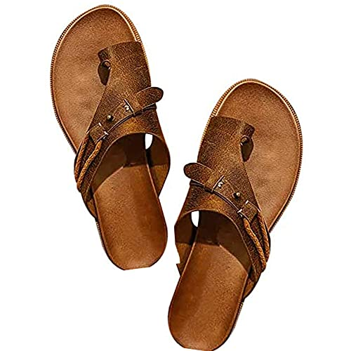 PKLMN Womens Orthotics Sandals for Women with Arch Support (Brown, 39)
