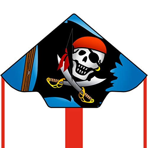 HQ- Simple Flyer Jolly Roger Cerf-Volant, 102146, Noir