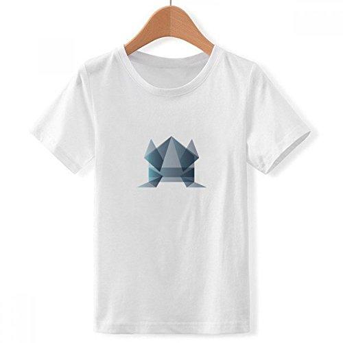DIYthinker Origami Rana extracto Forma geométrica tripulación Cuello Camiseta para Chico Multicolor Pequeña