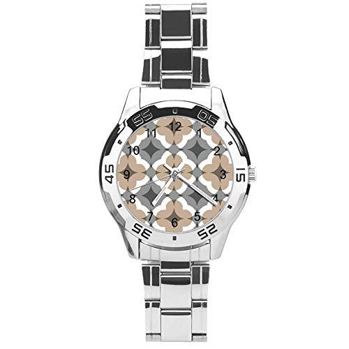 Reloj clásico de cuarzo de tres manecillas con correa de acero inoxidable, esfera con sello de flor vintage, correa automática ajustable, plateado, para unisex, el mejor regalo (41 mm)