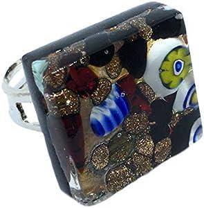 Anillo de cristal Murano - Millefiori de plata de hojas de 2 x 2 cm, ajustable y en caja regalo