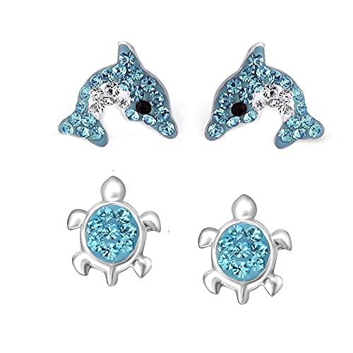 FIVE-D Kinder Ohrringe – Delfin Schildkröte 925 Silber - Hochwertige Mädchen Ohrstecker – Geschenk Set Kinderschmuck