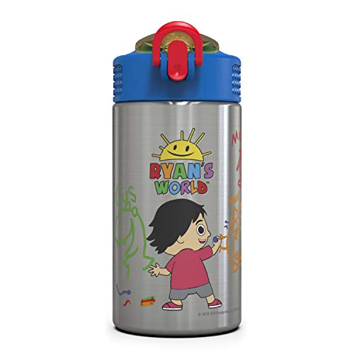 Zak Designs Ryan's World Ryan and friends 15.5 ounce Water Bottle BPA Free with One Hand Operation Action Lid and Built-in Carrying Loop, with Straw is Perfect for Kids