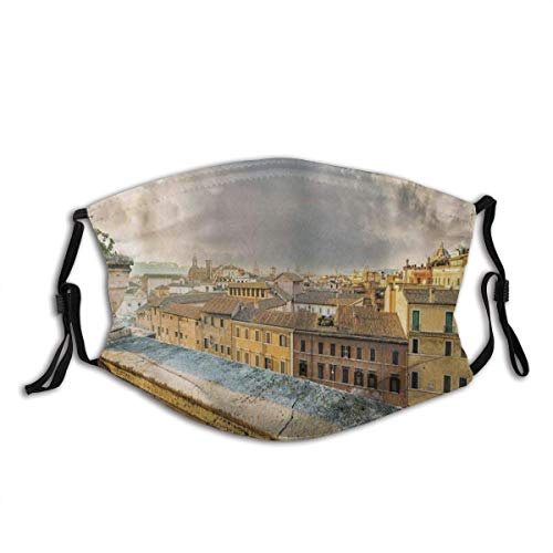 Windproof Dustproof Decorative Masks,Panoramic View of Historic Center of Rome from Ancient Balcony Balaclava Reusable Anti-Dust Mouth Bandanas Camping Motorcycle Running Neck Gaiter with 2 Filters