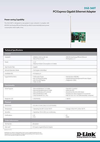 D-Link PCI Express Gigabit Ethernet Netzwerkadapter Karte PC PCIE 10/100/1000Mbps (DGE-560T)