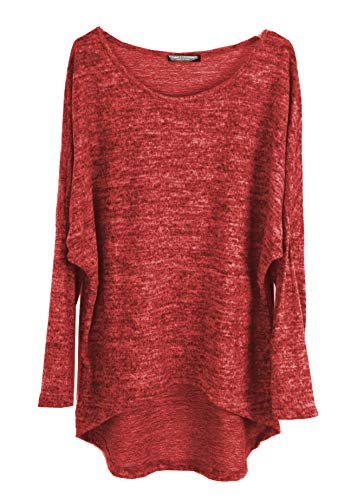 Emma & Giovanni - Pullover/T-Shirt Oversize (Made In Italy) - Damen (M-L, Rot)