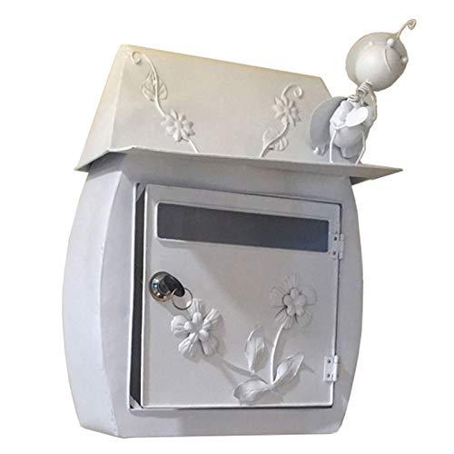 HWF Briefkasten Wandbriefkästen Drinnen Draußen Briefkasten Wandhalterung Verriegeln Briefkasten, Weiß Sicheres Wohnen Briefkasten, Klassisch Wetterfest Briefkasten