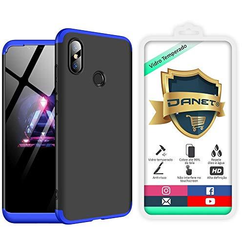 """Kit Capa Capinha Anti Impacto 360 Para Xiaomi Mi 8 E Mi 8 Pro Com Tela 6.21"""" - Case Acrílica Fosca E Acabamento Macio Com Película De Vidro Temperado - Danet (Preta com azul)"""