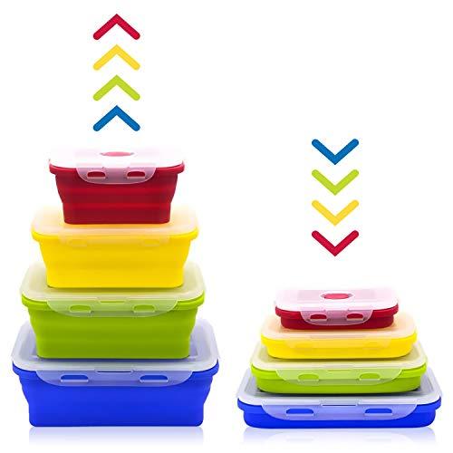 ZXK CO - Set di 4 contenitori pieghevoli per il pranzo in silicone, pieghevoli, da campeggio, pieghevoli, per frigorifero