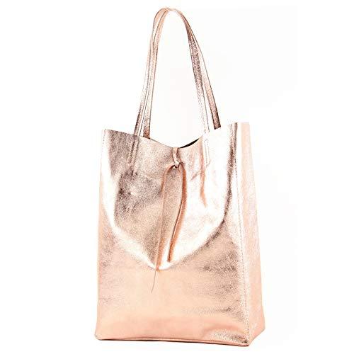 modamoda de - T163 - Ital. Shopper mit Innentasche aus Leder, Farbe:Rosé-Metallic