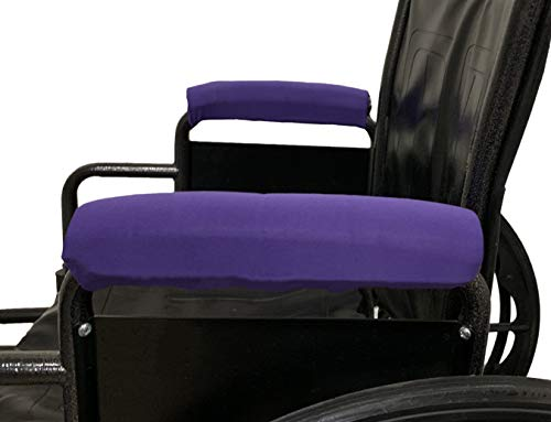 Crutcheze Wheelchair Arm Rest Comfort Covers USA Made - Moisture Wicking & Washable Accessory (Purple)