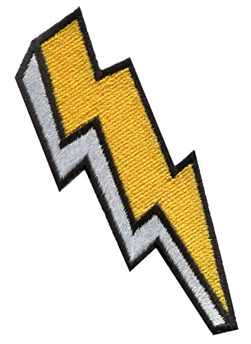 Lightning Bolt Strike Storm zap DIY Embroidery Crafting Embroidered Applique Iron-on Patch S-1599