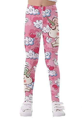 Coralup - Mallas elásticas coloridas para niñas pequeñas, diseño de unicornio, impresión 3D, pantalones casuales, longitud completa de 2 a 10 años Rosa rosa 2-3 Años