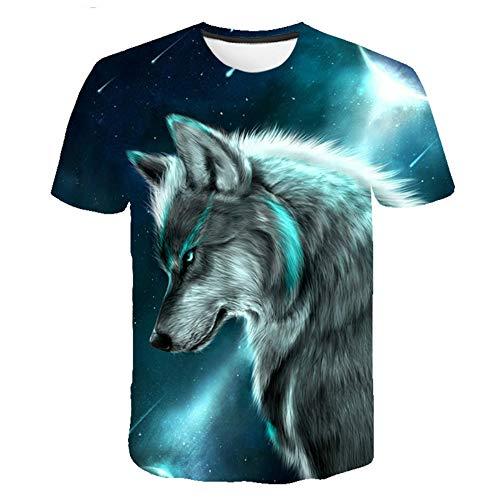 Treer 3D Camiseta para Hombre, Lobo Impresión Verano Manga Corta Casual Hipster Unisex Fit tee Shirts Camisetas Hombre Personalizada Divertidas Blusa Tops S-5XL (Lobo Guay,M)