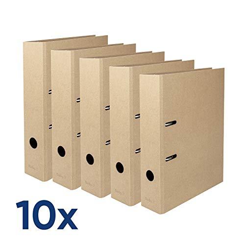 Biella Ordner Minimal Design, A4, 7 cm, braun, Box mit 10 Stück