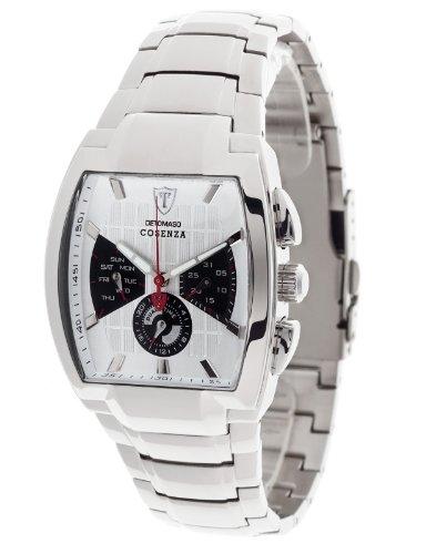 DeTomaso COSENZA Silber Stahl Dual Time DT1035-D DT1035-D - Reloj analógico de Cuarzo para Hombre, Correa de Acero Inoxidable Color Plateado (Dual Time)
