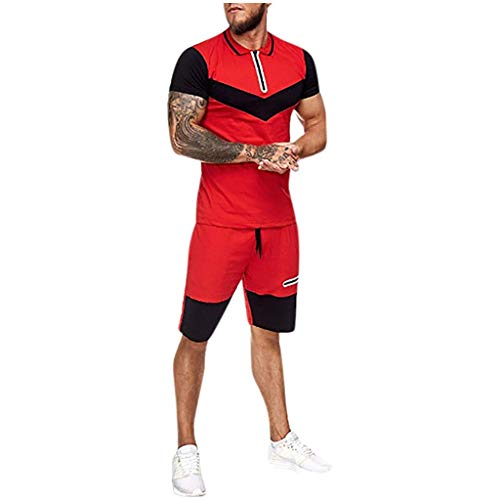 Great Deal! Doad Mens Summer Home Stripe Color Collision Short Sleeve Shorts Sports Thin Sets