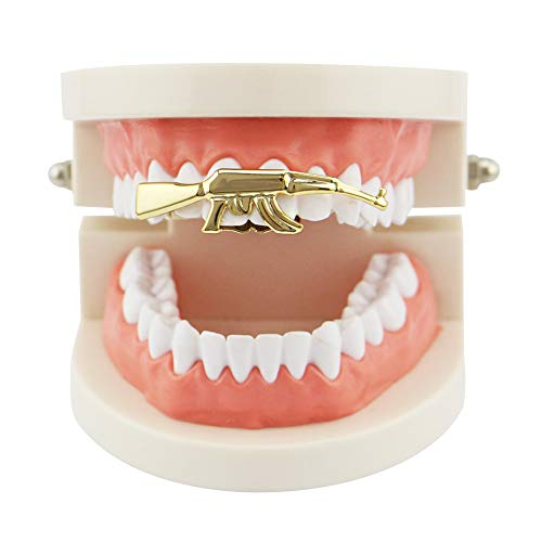 NICEWL Hip Hop Zähne Grills Doppelzähne Maschinenpistole Top Single Grillz,Vampir Zahnspangen Halloween Cosplay Dental Mund Zähne Party Dekoration Schmuck,Gold