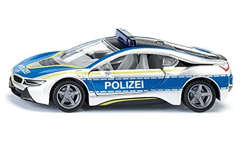 siku 2303, BMW i8 Polizeiauto, Metall/Kunststoff, Blau/Silber, Flügeltüren zum Öffnen, Gummierte Reifen