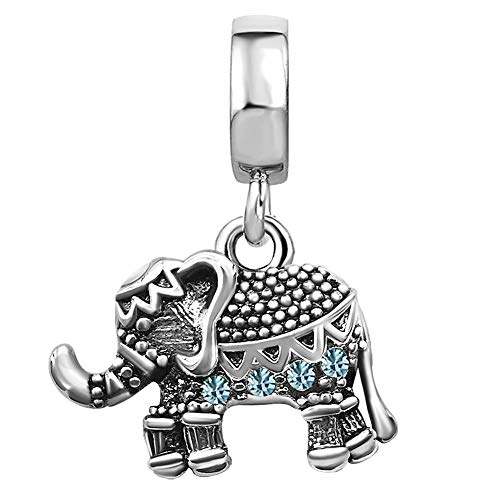 JMQJewelry Elephant Birthday Birthstone Aquamarine March Charms for Bracelets Grandma Grandmadaughter Gifts